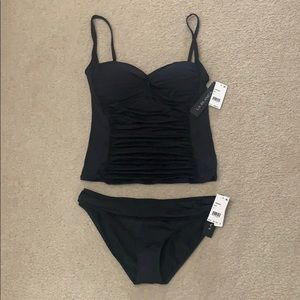 La Blanca black tankini top and bikini bottoms